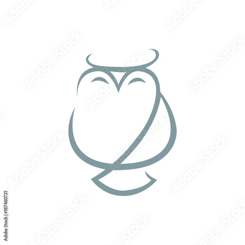 Fotobehang Uilen cartoon Abstract owl symbol, icon on white background. Design element