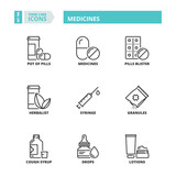 Thin line icons. Medicines - 187462963