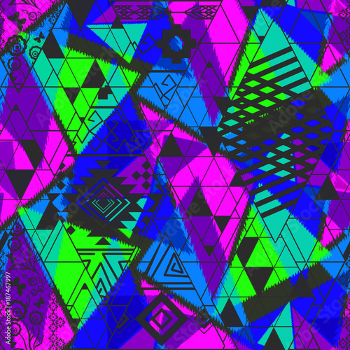 Seamless Ethnic abstract pattern with bright neon tones. Bright blue, green, pink, black ornament. - 187467997