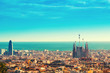 View above on Barcelona landmark from Montjuic hill