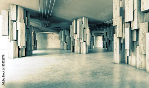 Arquitectura moderna y construccion.Cimientos y encofrado de cemento y hormigon.Columnas y pilares