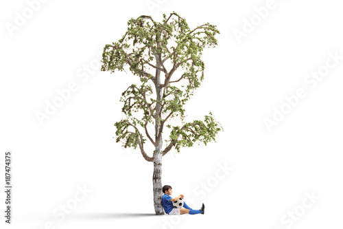 Little footballer leaning against a birch tree - 187474375