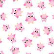 Cute cartoon owl seamless pattern background. Business flat vector illustration. Owl bird symbol pattern. - 187474978