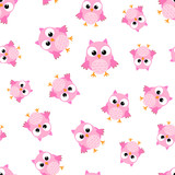 Cute cartoon owl seamless pattern background. Business flat vector illustration. Owl bird symbol pattern.