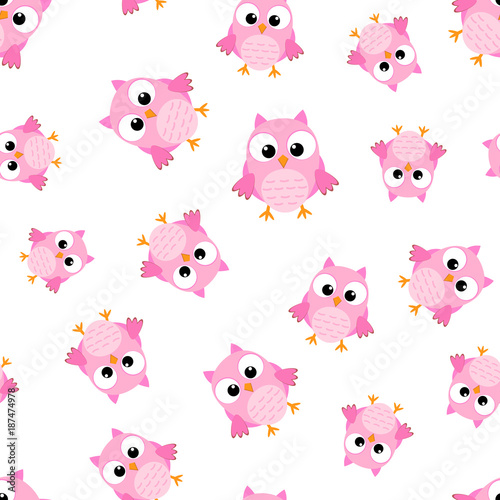 Fotobehang Uilen cartoon Cute cartoon owl seamless pattern background. Business flat vector illustration. Owl bird symbol pattern.