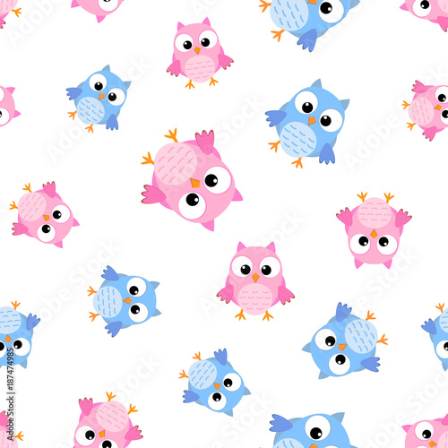 Cute cartoon owl seamless pattern background. Business flat vector illustration. Owl bird symbol pattern.