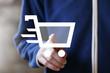 Businessman push button shopping cart icon