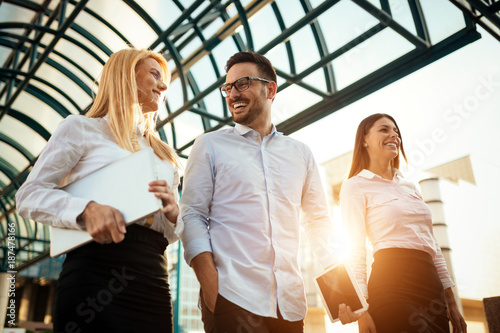 Poster Picture of young attractive business partners standing