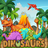 Different types of dinosaurs by the volcano - 187479701