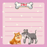 Paper template with two cute dogs