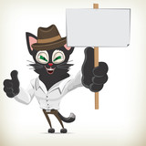Cartoon business character cat holding a blank placard
