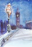 London night street view painting, streetlamp and Big Ben - 187484576