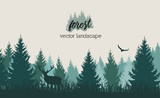 Vector vintage forest landscape with blue and grees silhouettes of trees and wild animals