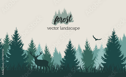 Poster Vector vintage forest landscape with blue and grees silhouettes of trees and wild animals