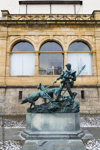 Bronze statue dog handler at Konopiste castle, Czech Republic Poster