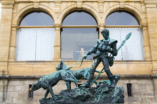 Bronze statue dog handler at Konopiste castle, Czech Republic Poster
