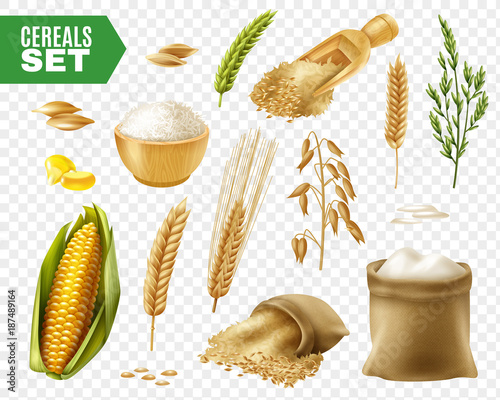 Cereals Transparent Icon Set