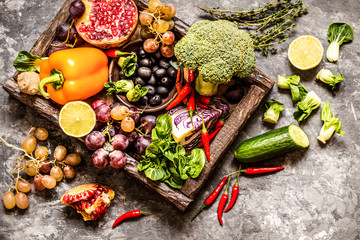 vegetables and fruits, herbs - the ingredients for cooking, healthy lifestyle
