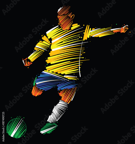 Fotobehang Bol soccer player kicking the ball made of colorful brushstrokes on dark background