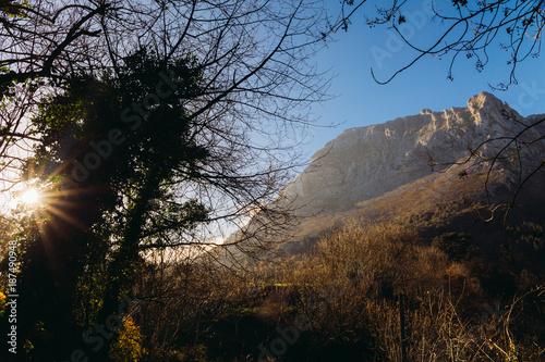 Keuken foto achterwand Zwart Typical Basque landscape between mountains