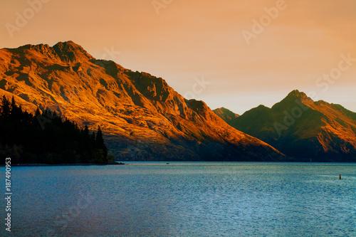Walter Peak and Lake Wakatipu on sunset light in Queenstown tourist destination in New Zealand © Radoslav