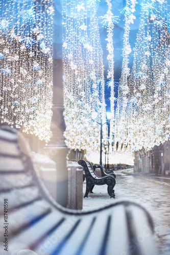 Foto op Aluminium Moskou Nikolskaya street, Moscow, Russia. Glowing garland decoration. Christmas and New Year holidays