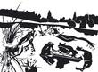 deux grenouilles et trois crapaud sur un étang en noir et blanc