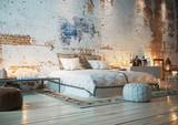 bett in Loft Wohnung mit Ziegelwand - bedroom in vintage brick loft apartment - 187496349