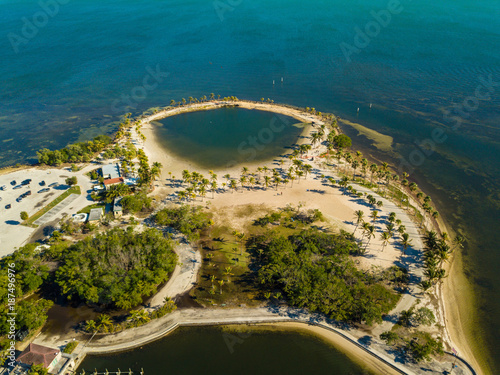 Fotobehang Groen blauw Aerial image The Round Beach Coral Gables Florida