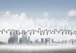 Background image with city center view as modern business life c