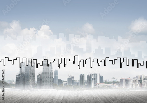 Poster Background image with city center view as modern business life c