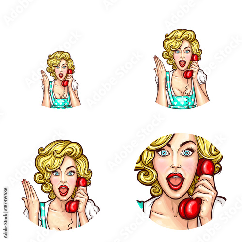 Fotobehang Pop Art Vector pop art round icons set for user profile social net avatar, woman speaking on phone holding receiver in hand. Blonde girl with surprised or hand up expression chatting by phone, isolated sketch