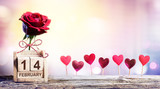 Valentines Day - Calendar Date With Rose And Hearts Decoration - 187498110