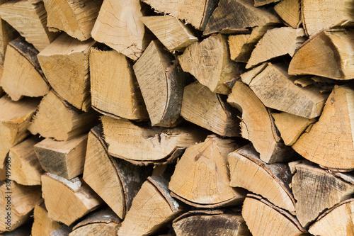 Foto op Aluminium Brandhout textuur Tas de buches empilées