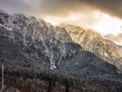 Keuken foto achterwand Beige Mountains with snow in the sunset