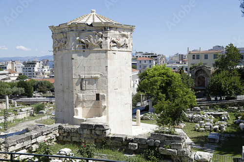 Poster Athene Tower of Winds and remains of Roman Agora in the old town of Athens, Greece