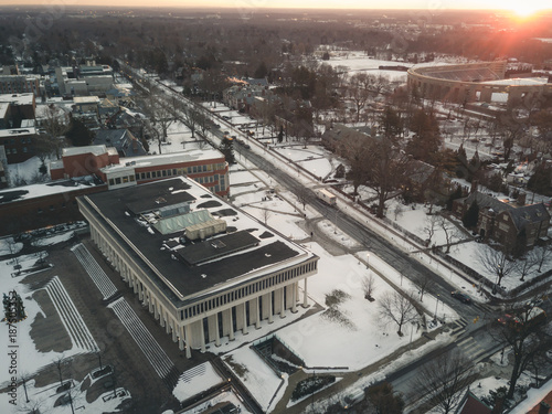 Foto op Canvas Ochtendgloren Aerial Drone of Princeton Snow Covered