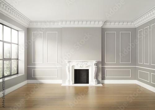 Pusty klasyczny elegancki luksusowy salon z kominkiem
