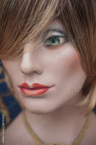 Aluminium Kapsalon mannequin en vitrine avec perruque