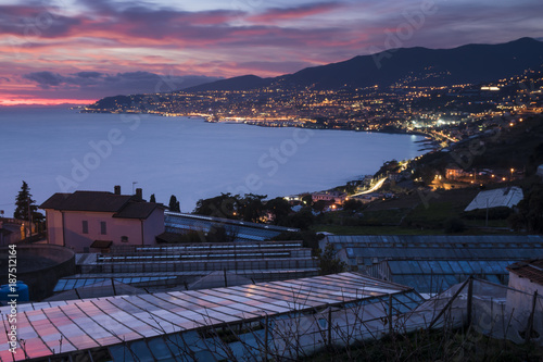 Foto op Aluminium Liguria City of Sanremo on the Ligurian coast (Italy, Mediterranean Sea) with greenhouses for the cultivation of flowers, for which this locality is known in the world. Night view.