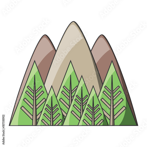 Foto op Canvas Wit mountains and forest icon