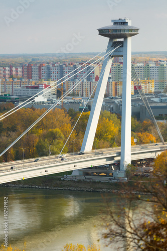 Fotobehang UFO Aerial view of Bratislava with Bridge SNP