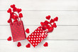 Happy Valentine's Day greeting card. Top view on romantic composition  with gift bags