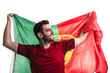 Portugal fan celebrating on white background