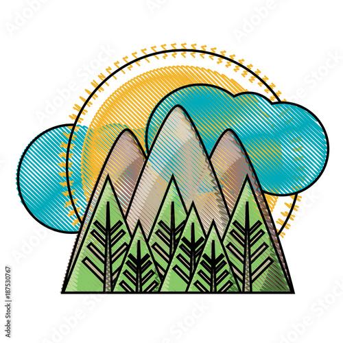 Fotobehang Wit mountains landscape icon image