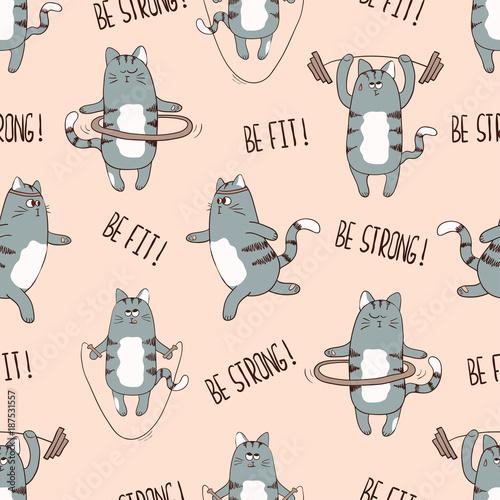 fototapeta na ścianę Seamless pattern with cute cartoon cats exercising. Vector fitness background.