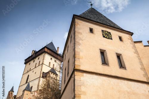 Karlstejn castle towers under blue sky Poster