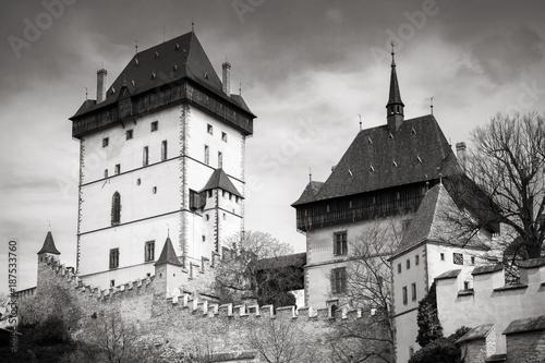 Karlstejn castle exterior. Black and white Poster