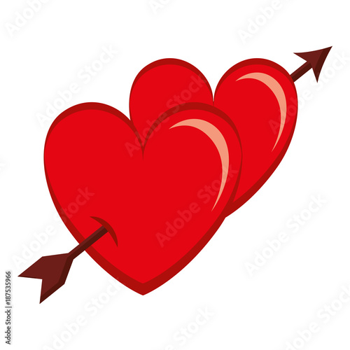 two hearts with arrow love card vector illustration design