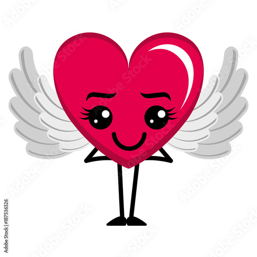 heart love happy with wings kawaii character vector illustration design - 187536326